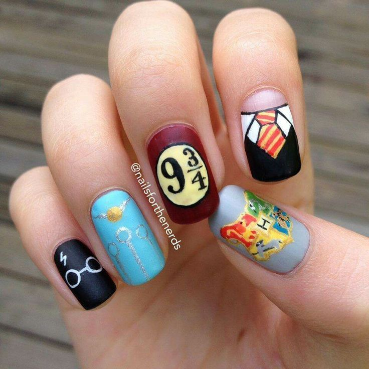 Frog Nail Art: Harry Potter Nail Decor #hp #nail #art …