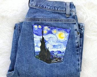 Custom Painted Starry Night Jeans or Denim Shorts