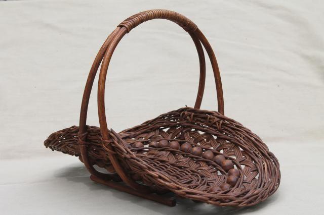 vintage stick ball wicker basket w wood beads cottage garden