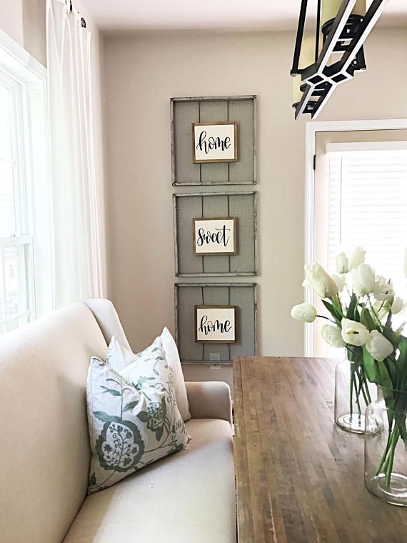 I love these farmhouse style signs for my living room Home sweet