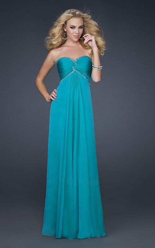 La Femme 17527 Strapless Beaded Sweetheart Peacock Prom Gown
