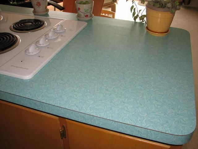 Vintage Aqua Boomerang Formica Counter Tops In This Retro Mid Mod Remodel Countertops