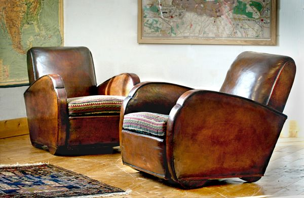 Worn Leather Club Chairs In Art Deco Style   Never Wrong