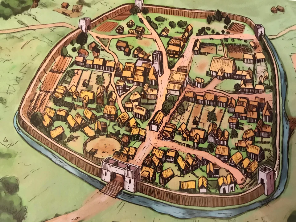 An Anglo Saxon Burh The Trading Hubs Of England By 1066 About 10 Of The English Population Lived In Burhs Med Anglo Saxon History Anglo Saxon Fantasy Map