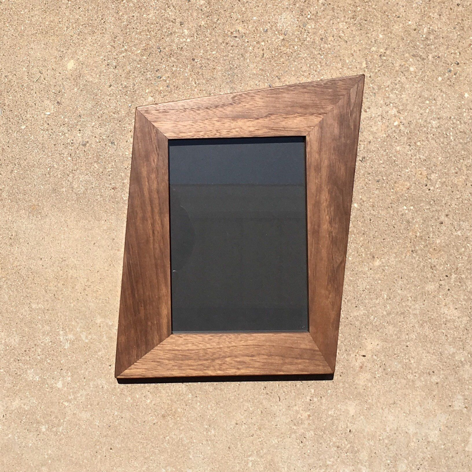 Ready To Ship Walnut Trapezoid Picture Frames With Glass Backing