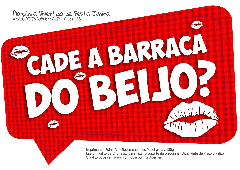 Plaquinha Divertida Festa Junina Barraca Do Beijo Plaquinhas