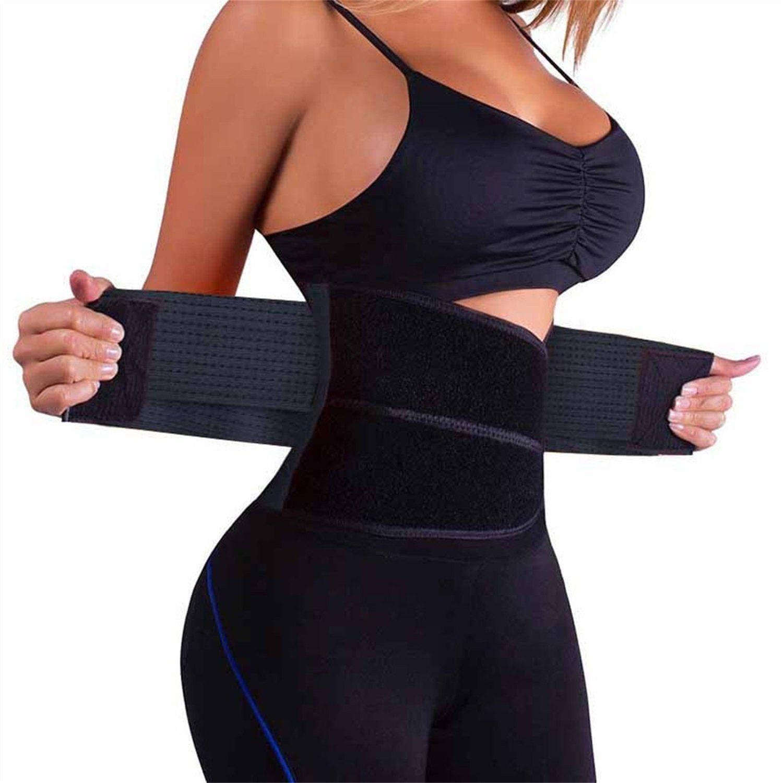 4775be44201 HURMES Waist Trainer Belt for Women Waist Cincher Trimmer Slimming Body  Shaper Belt Premium Belly Fat Burner Wrap Lumbar Support Girdle Belt Black  L     You ...