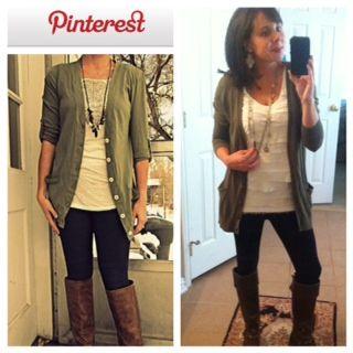 Pinterest Told Me To! Black leggings, cream t-shirt, green ...