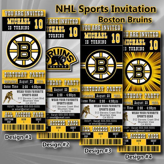 Boston Bruins Birthday Invitation Hockey Ticket By