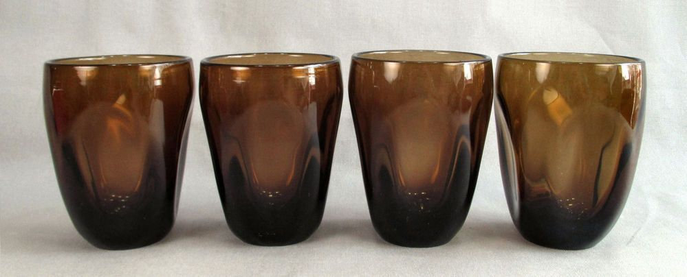 Vintage 4 Imperial Glass Pinched Dawn Nut Brown On the Rocks Glasses Tumblers #ImperialGlass