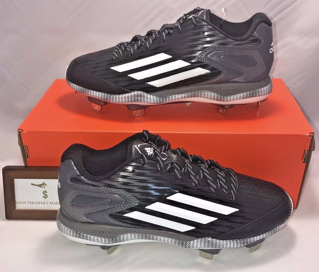 ADIDAS MENS SIZE 7.5 LITESTRIKE IRON SKIN METAL BASEBALL CLEATS BLACK SILVER