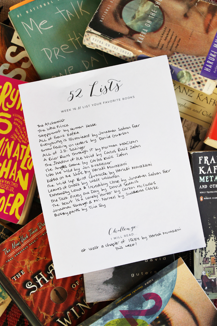 """52 Lists // Week 16.  """"List Your favorite Books!""""  Learn more at moorea-seal.com"""