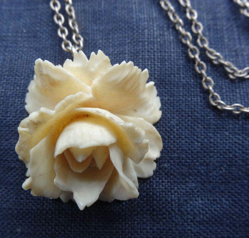 Antique Edwardian Art Nouveau Carved Bone Rose Flower Silver Chain Necklace C448 Edwardian Jewelry Vintage Jewelry Silver Chain Necklace