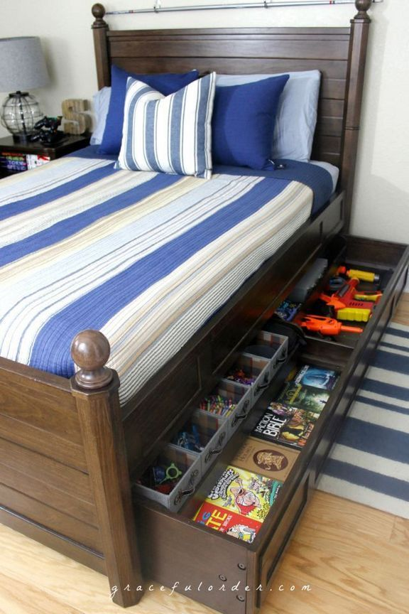 30+ creative bedroom storage ideas that you need to know is part of Organization Bedroom Kids - Bedroom storage ideas  Decide what you would like to use the room for, and see whether you can use another room for getting ready, especially if you're a woman, and have plenty of grooming paraphernalia! If your kids' room is small… Continue Reading →