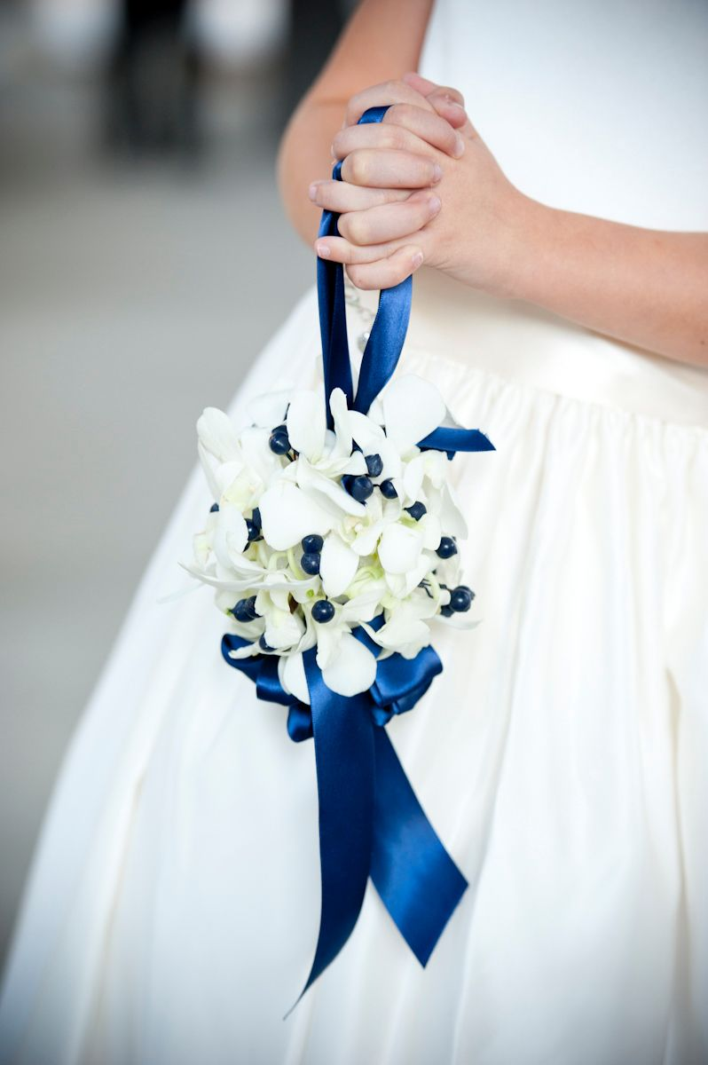 Blue and White Flower Girl Bouquet Ball | Designed by Judy Johnston ...