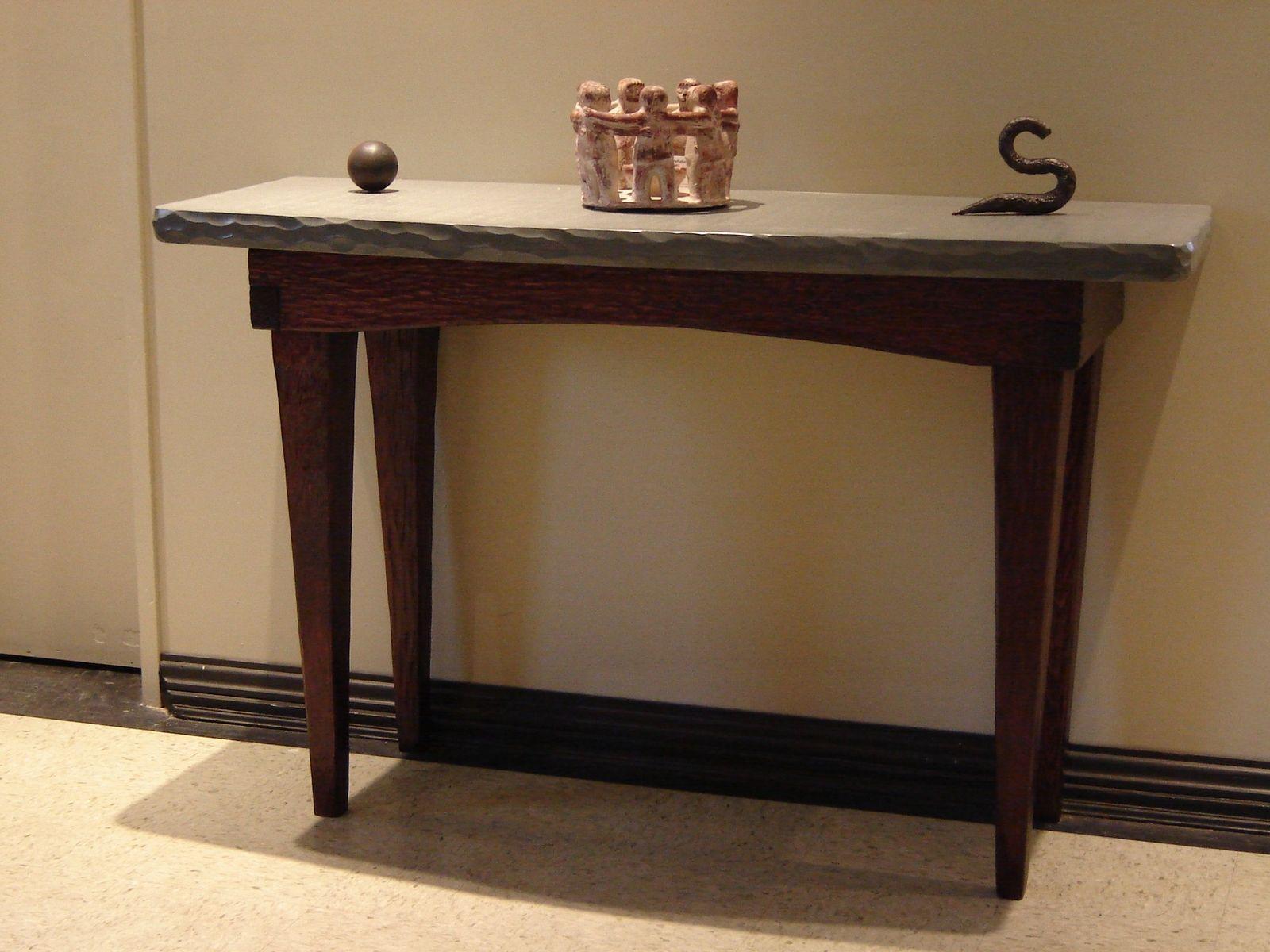 Custom Foyer Table / Stone And Wood By Stonehunterstudio .