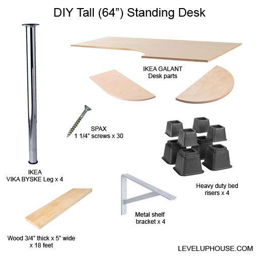 Jim S Very Tall Diy Standing Desk Level Up House Diy Standing Desk Ikea Standing Desk Ikea Galant Desk