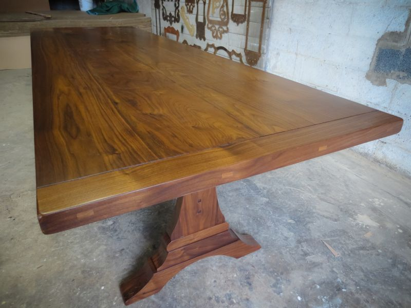 Tiger Maple Walnut Trestle Table With Butterfly Leaf Folded