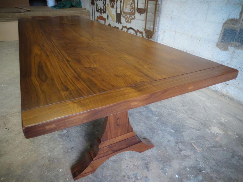 Walnut Trestle Table Top With Breadboard Ends In Golden Oak Stain