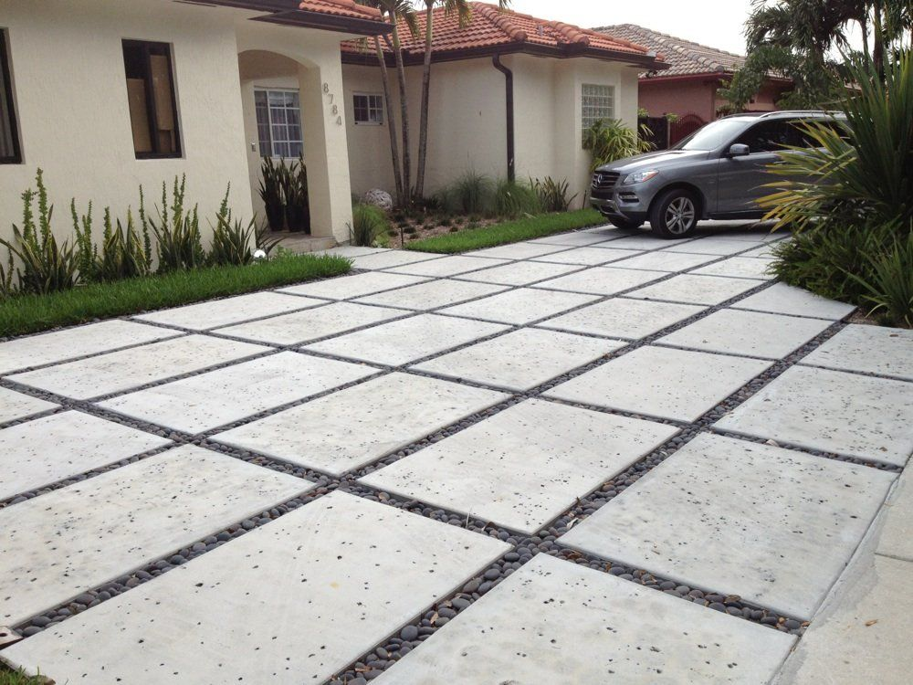 We specialize in modern rectangle concrete driveways. | Landscape ...