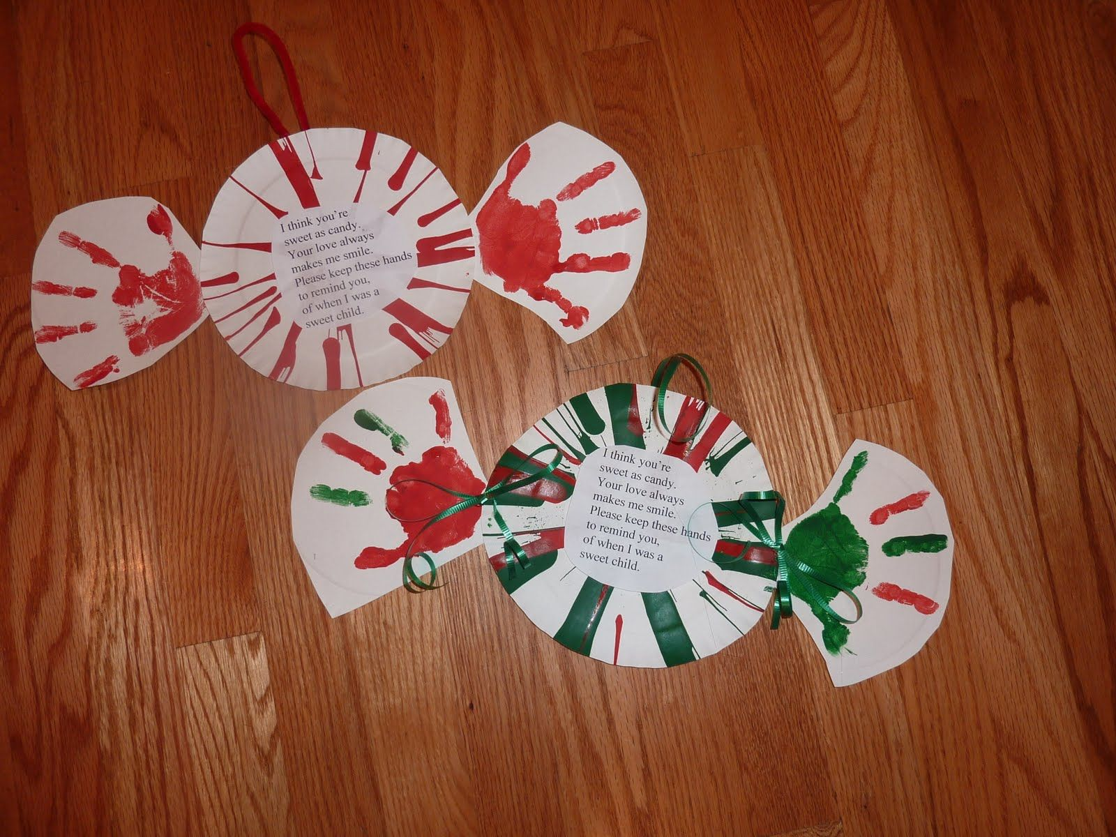 Hand Print Peppermint Candy Preschool christmas