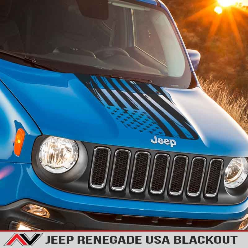 P>distressed Usa Flag Hood Blackout Designed For Jeep Renegade Bu
