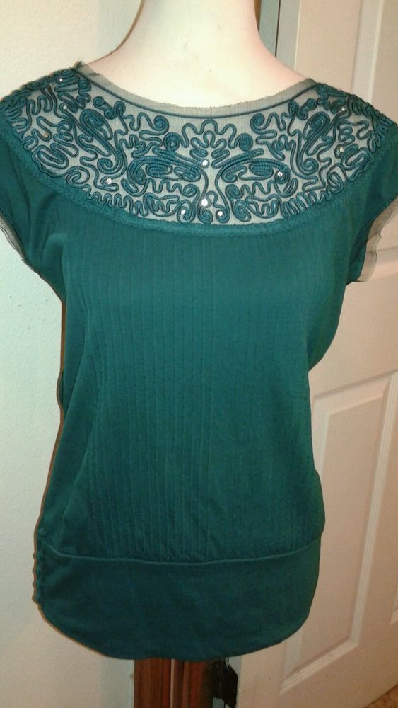 Free People Ladies Shamrock Green Top Blouse Sleeveless SZ S  Nylon Trim #FreePeople #KnitTop #Career