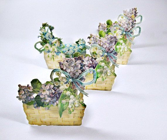 Victorian Die Cut Scraps, Violet Flowers in Baskets Placecards. $11.00, via Etsy.