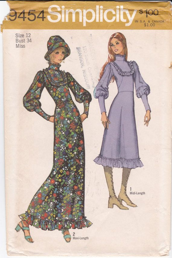 Vintage Simplicity Sewing Pattern 9454 High Collar by Ziatacraft ...