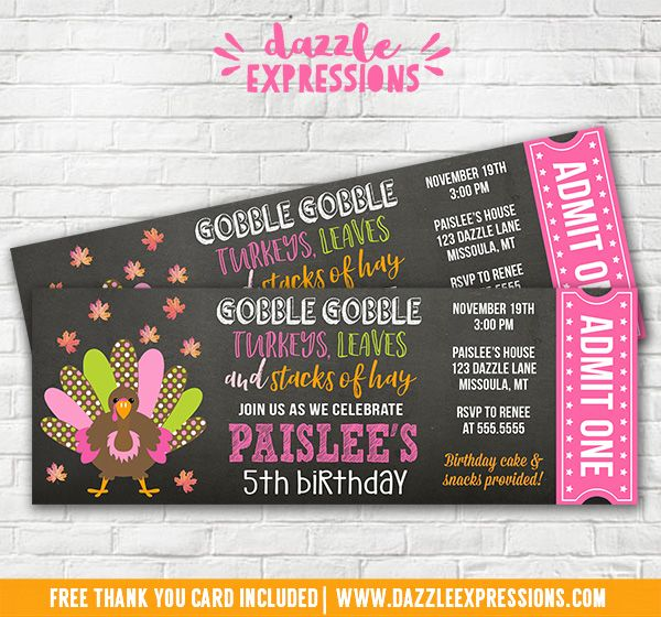 Printable Turkey Chalkboard Ticket Birthday Invitation  Girls