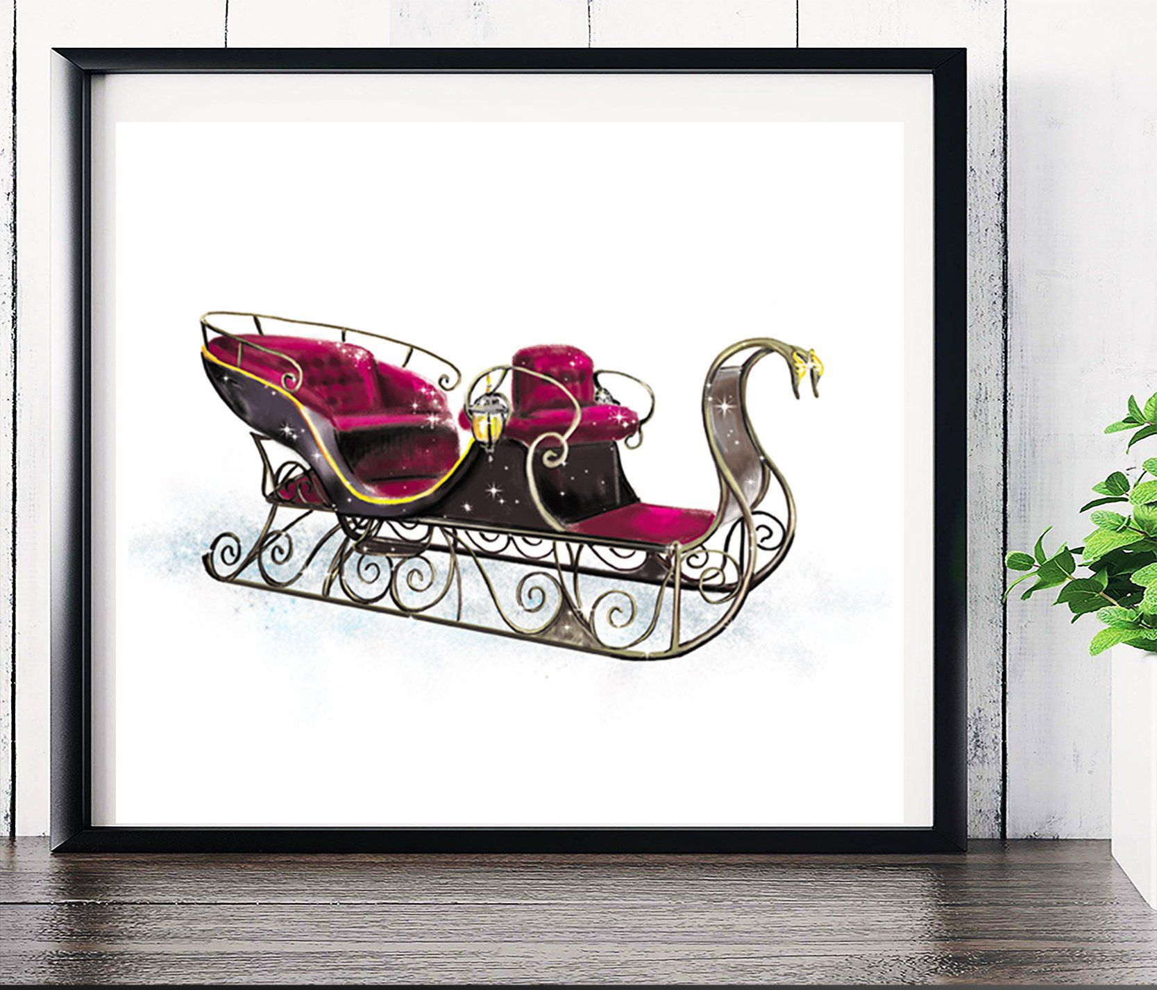 Santa sleigh Christmas wall art Vintage christmas sign Sleigh print Christmas decoration printable Boy girl room christmas decor Digital art images