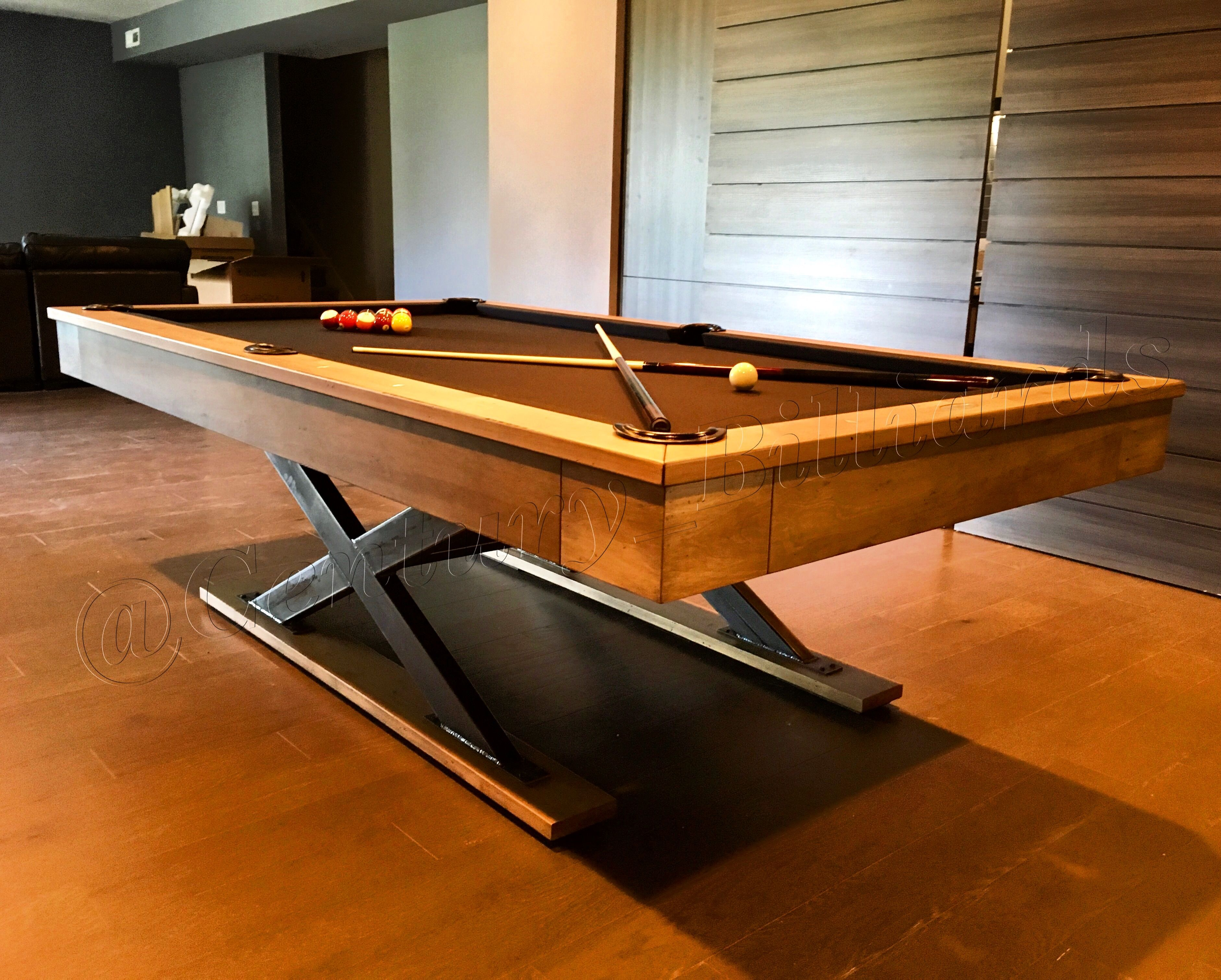 Like The X Legs Like That It Is Wood But With Contrast Of Black Or Metal Custom Pool Tables Pool Table Modern Pool Table