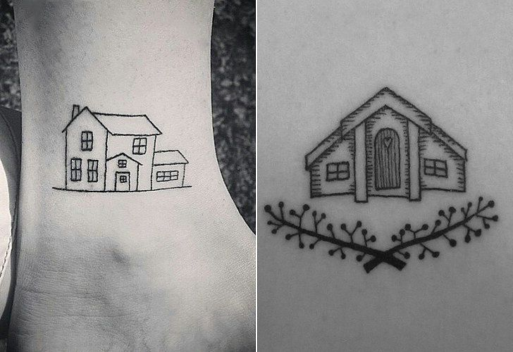 19 Ways To Permanently Honor Your Favorite Place In Ink Home Tattoo Tattoos Small House Tattoo