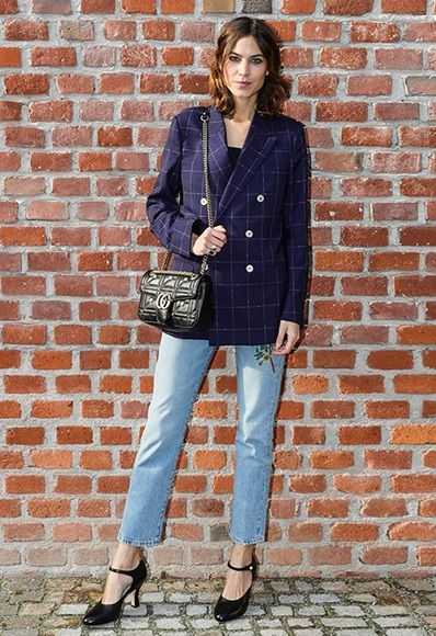 Alexa Chung wearing a check blazer with jeans and Mary Jane shoes  7a8c107177b9