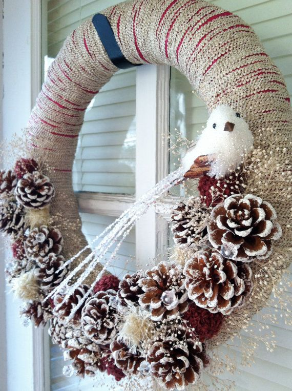 Winter Holiday Yarn Wreath With Frosted Pine Cones White