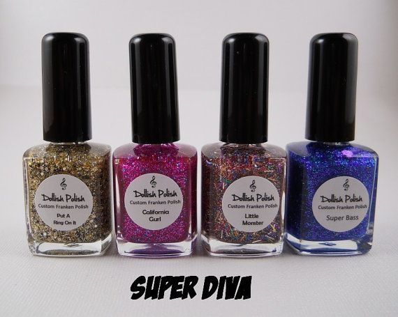 Super Diva Custom Quattro Polish Set Full Size By Dollishpolish 32 00 Polish Custom Etsy