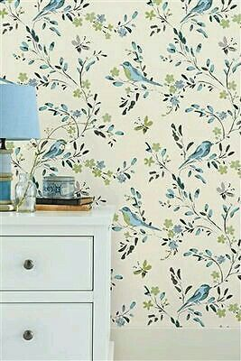 White Cottage Shabby Chic Le Bird Wallpaper Murals Bluebirds Stuff