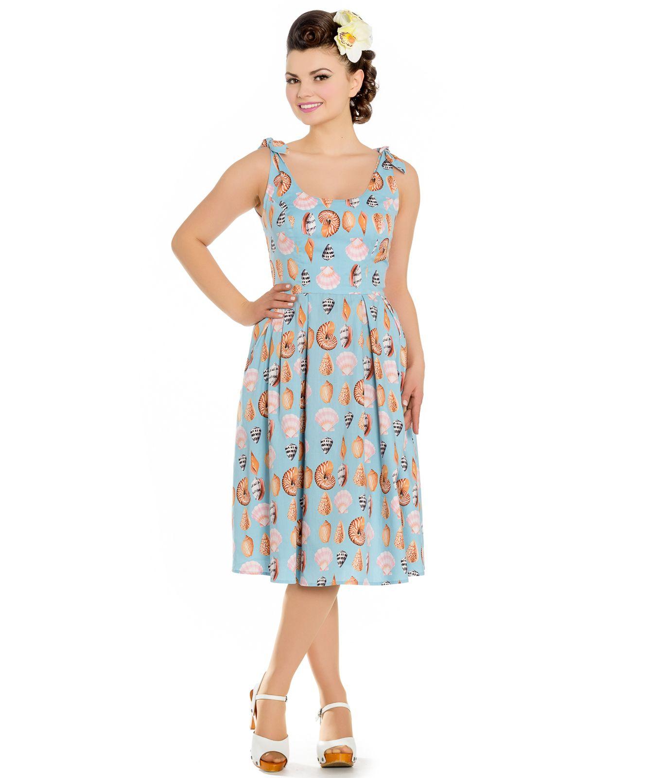 aca83892ec445 Hell Bunny Maya Bay 50s Style Seashells Summer Dress