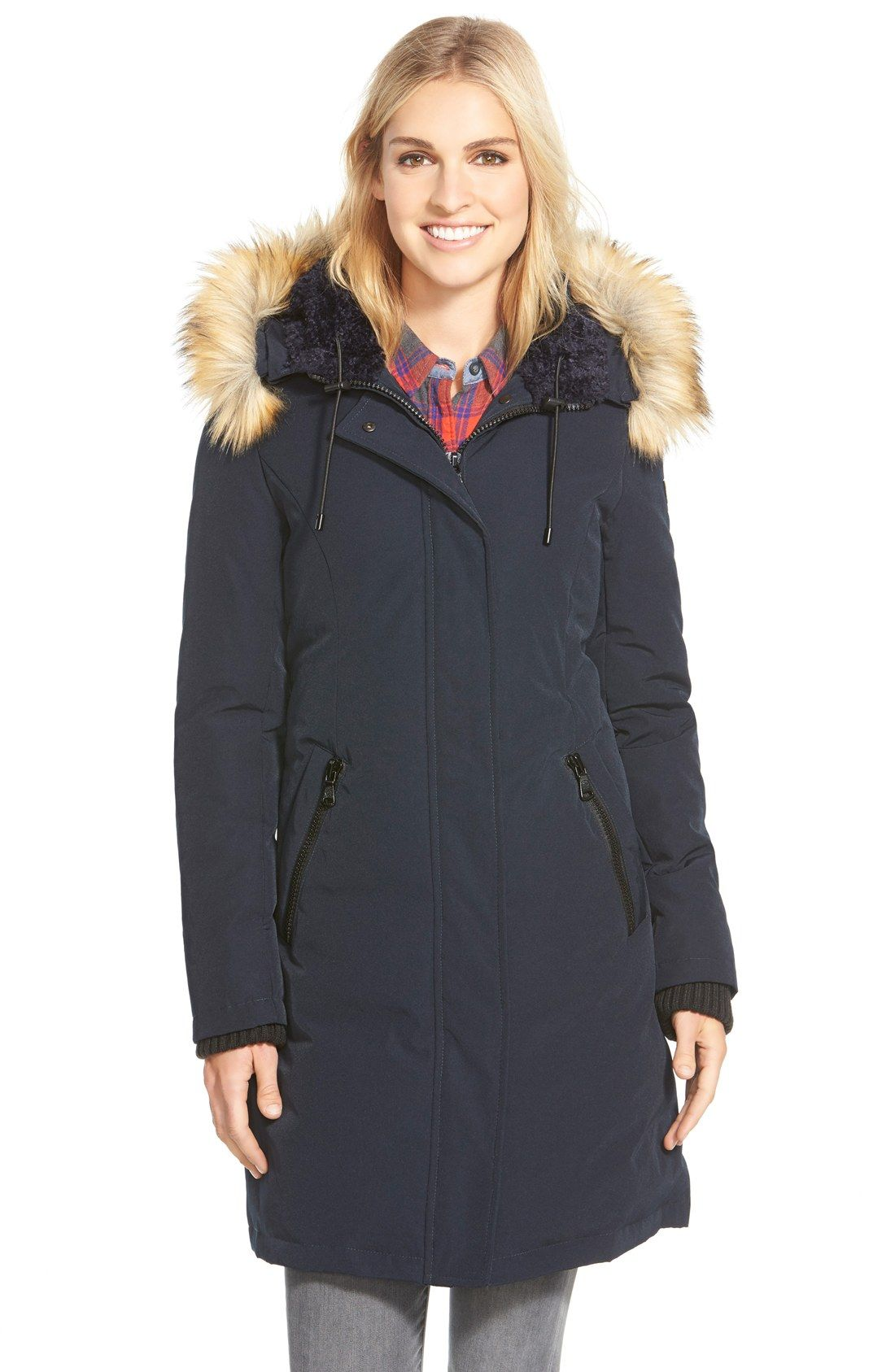 Down & Feather Fill Parka with Faux Fur Trim | Fur trim, Vince ...
