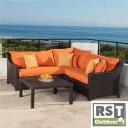 RST Outdoor 'Tikka' 4-Piece Corner Sectional Sofa and Coffee Table Patio Furniture Set