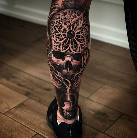 Badass Skull Tattoos For Men Tattoosformenideas Tattoosformenbadass Tattoos For Guys Tattoos For Guys Badass Calf Tattoo Men