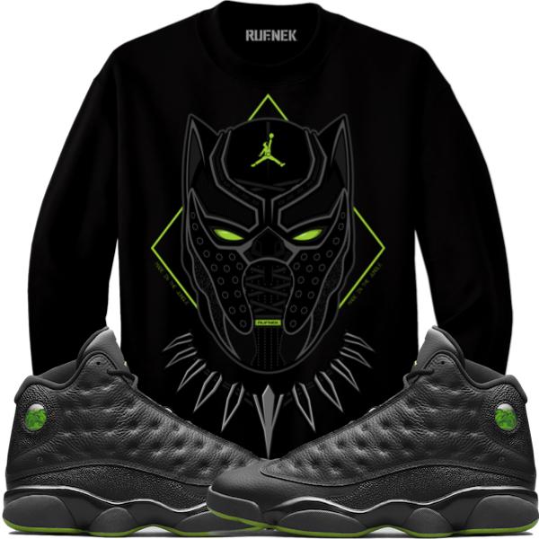 21543b43c3120b Jordan 13 Altitude Creweck Sweater - BLACK PANTHER