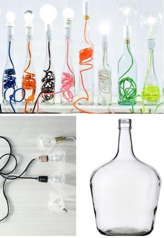 Des lampes réalisées avec des bouteilles en verre et du fil - couleur des fils electrique