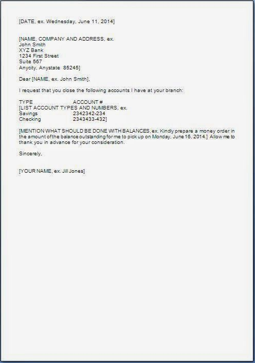 Sample Letter Request For Closing Bank Account Close Cover Templates