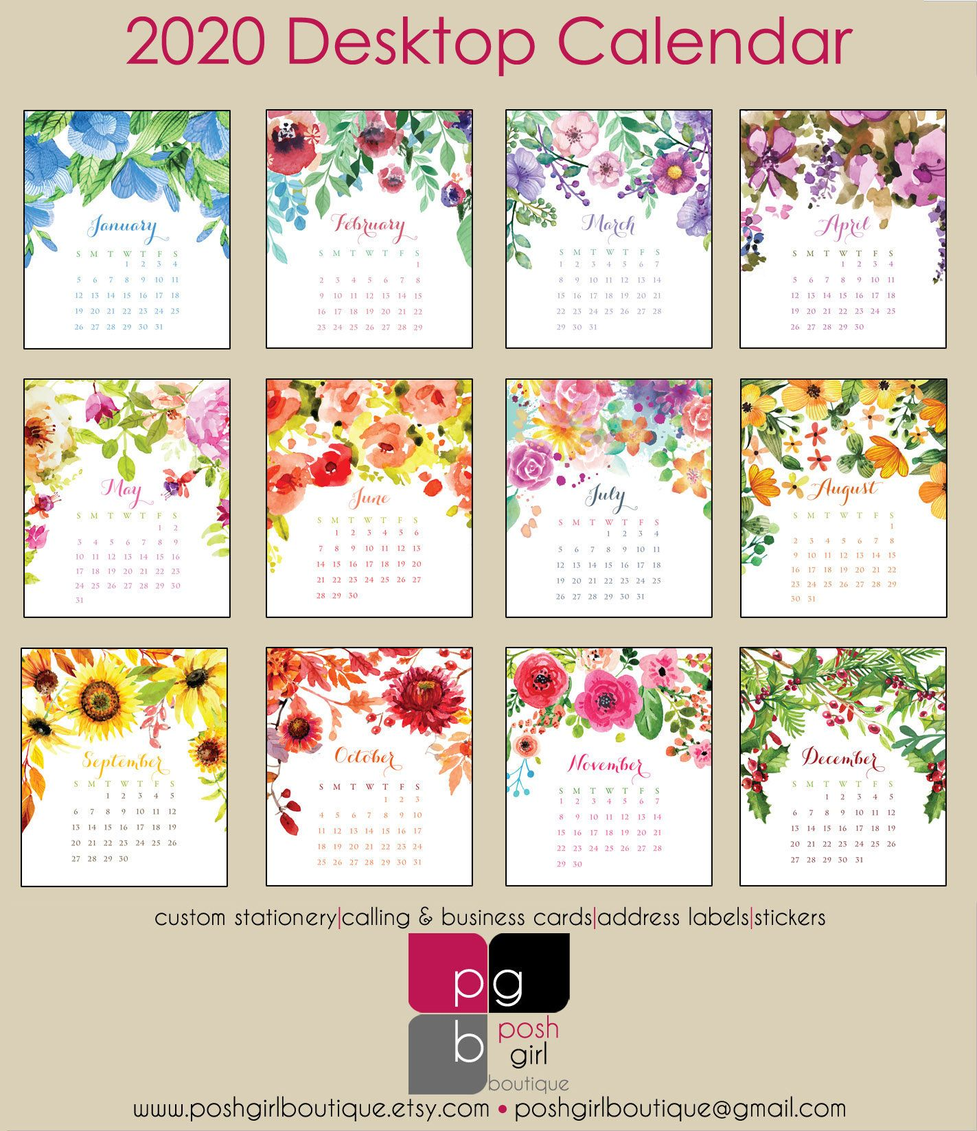 2020 Desk Calendar Watercolor Florals With Clear Case Desk