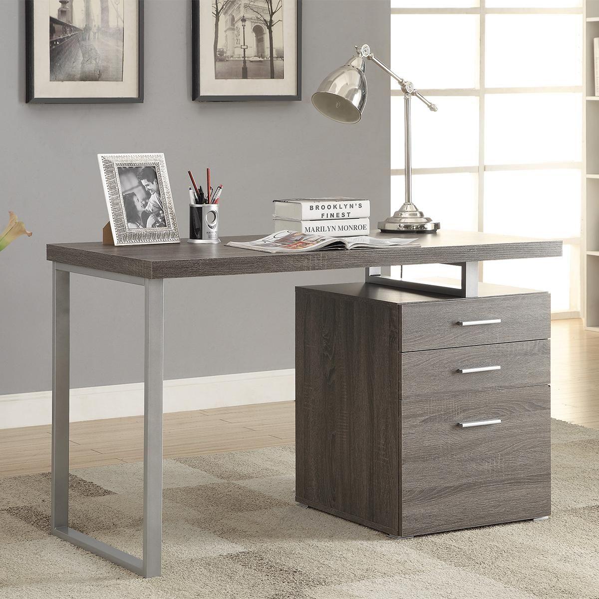Pacific Landing Hilliard Writing Desk With File Drawer In Weathered Grey Nebraska Furn Contemporary Office Desk Modern Home Office Desk Home Office Furniture