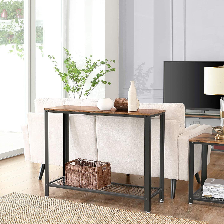 Photo of Ryan Industrial Modern Console Table w/ Storage Shelf