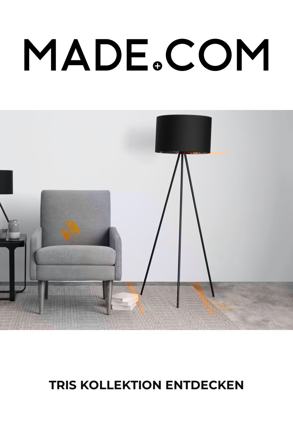 Tris Tripod Stehlampe Mattschwarz Und Kupfer In 2020 Stehlampe