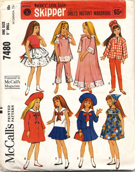 Skipper Doll Wardrobe Pattern McCall\'s7480 Vintage 1964 | Barbie ...