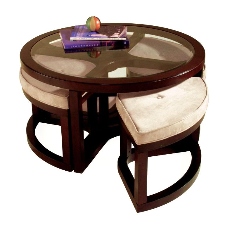 Exceptional Magnussen Juniper Wood Round Cocktail Table With 4 Stools